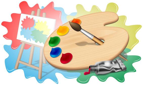 画家のパレットと絵の具