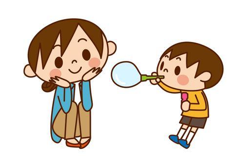 Parent and child - soap bubble