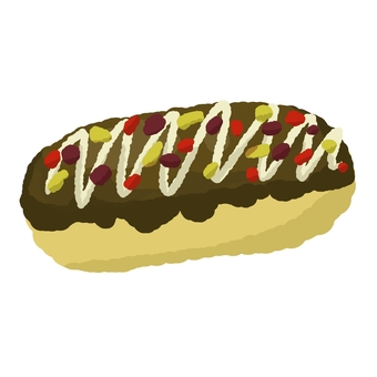 Eclair with dried fruits