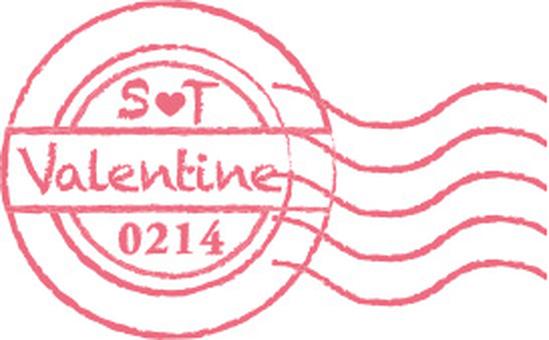 Valentine postmark posture Pink
