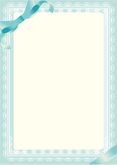 Cute ribbon lace leaf blue