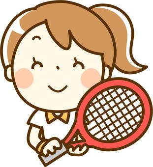 테니스 라켓을 가진 여자