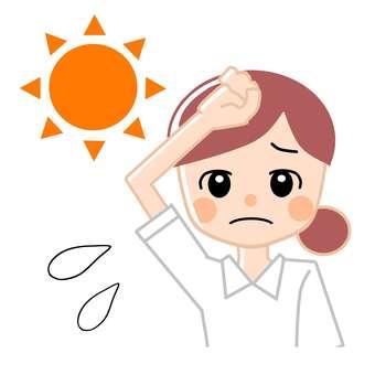 Female / hot / heat stroke