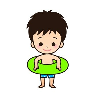 A boy in a bathing suit with a float