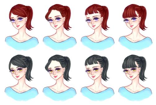 "Girls' hair style ""Ponytail B"""