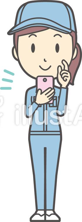作業員女性ブルー-069-全身のイラスト