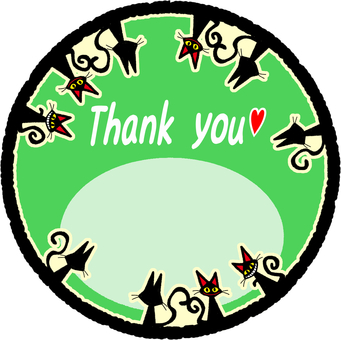 Black cat Thank you card (green)