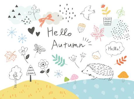 秋の手書きイラストセット