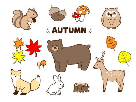 秋の生き物(シンプル)