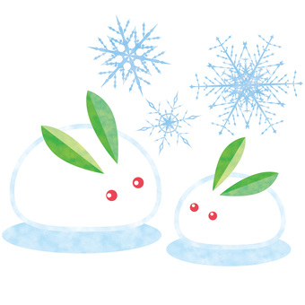 雪うさぎ冬雪の結晶1月2月12月イラスト