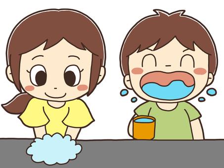 Illustration of a handwashing child