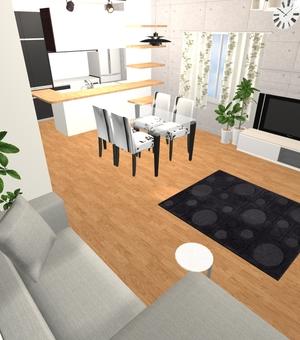 3LDK Floor plan ③ (3D solid / LDK 2)