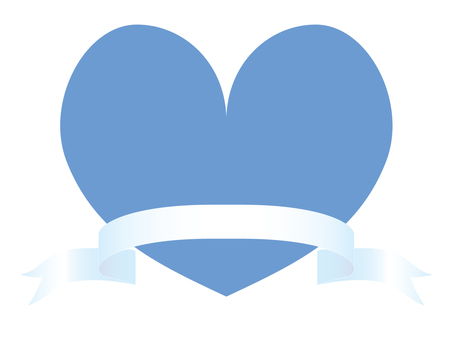 Blue Heart and White Ribbon