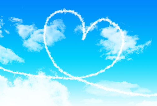Blue sky and heart shaped high clouds