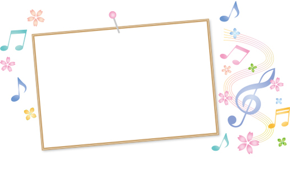Photo frame and notation and cherry blossoms