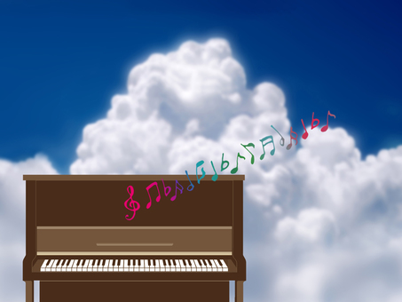 Clouds and upright piano