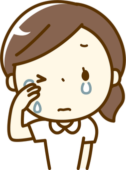 Nurse shedding tears