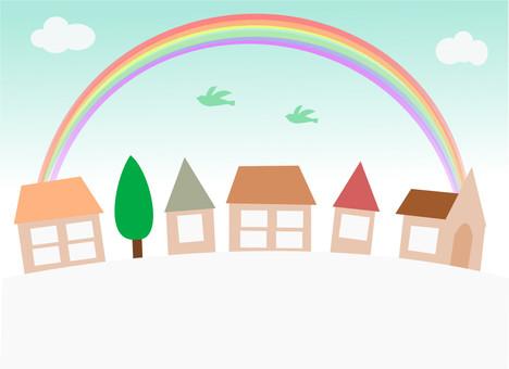 Rainbow over street frame