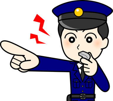 Police officer whistling (upper body)