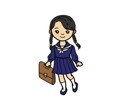 Sailor suit and pigtails