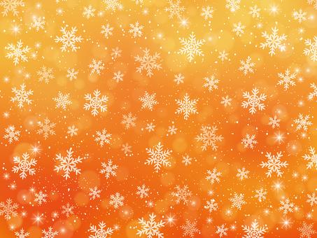 雪の結晶の背景素材(オレンジ色)