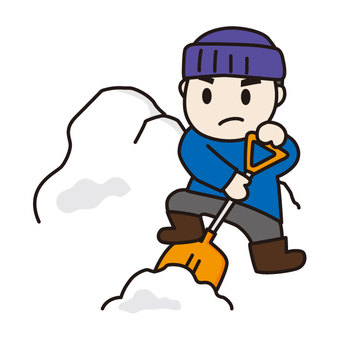 Men who are snow shoveling