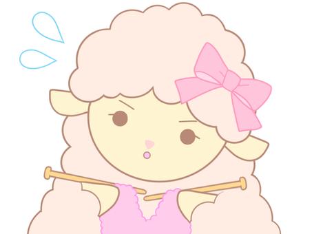 編み物を頑張るひつじちゃん(ピンク)