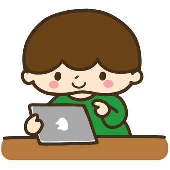 Illustration of a boy using a tablet
