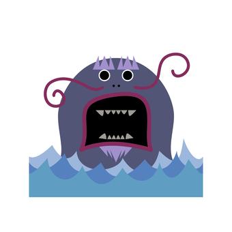 귀여운 요괴 바다 도깨비의 일러스트