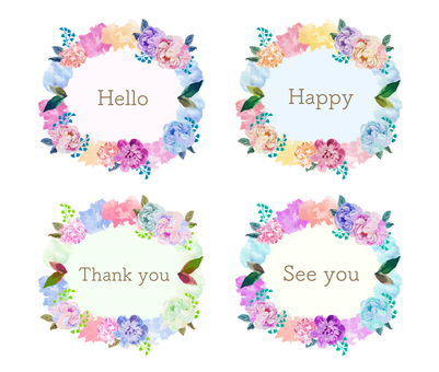 Colorful watercolor style flower frame set