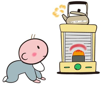 Baby gazing at the stove