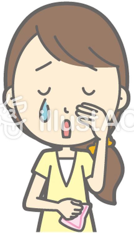 女性半ズボン-泣く-バストのイラスト
