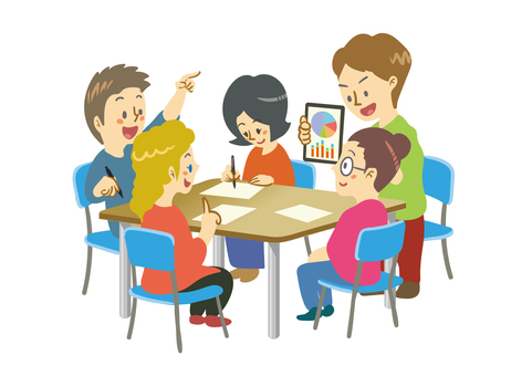 Illustration of group work (5 people)