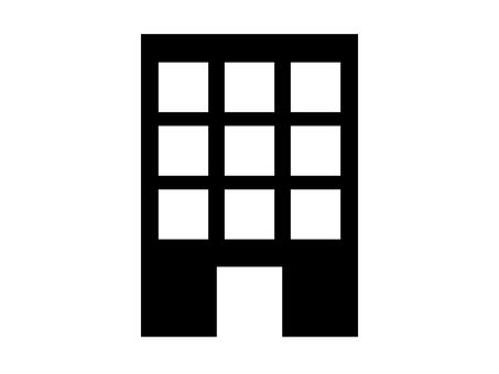 Building silhouette icon entrance