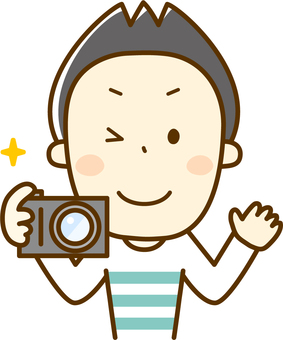 Papa holding a camera