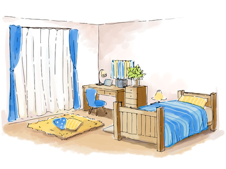 Sketch-like boy's room