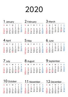 2020年カレンダー日曜始まりA4縦長