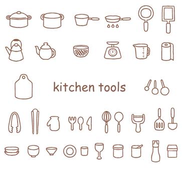 逗人喜愛的手畫廚房器物例證