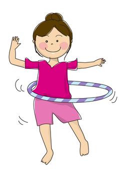 Woman with hula hoop 03