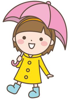 Girl 31 Rain Showing Umbrella