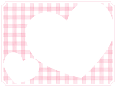 Check and Heart Frame 3 Pink