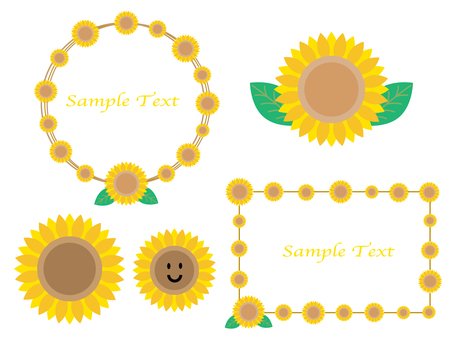 Set of sunflower icons and frames
