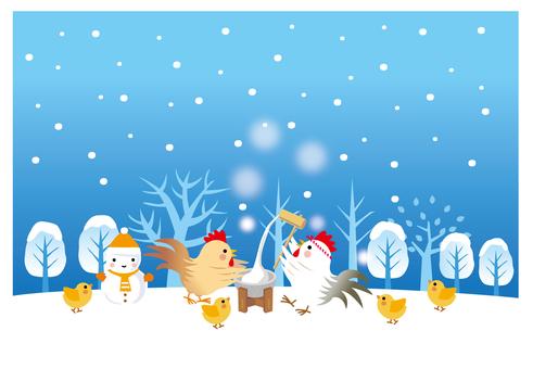 Chicken family's mochi-toki meeting