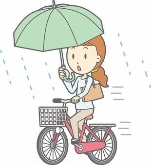 Bicycle woman - Bicycle umbrella - whole body