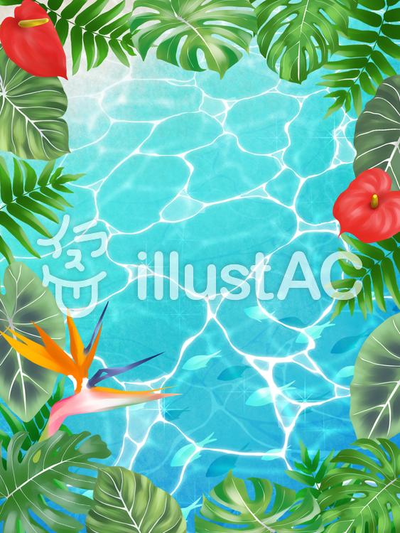 【フリーイラスト素材】熱帯植物と海(縦)・2