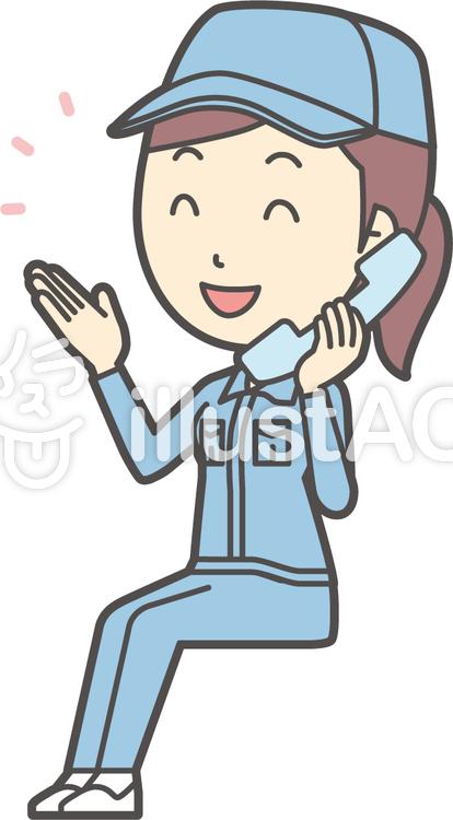 作業員女性ブルー-305-全身のイラスト