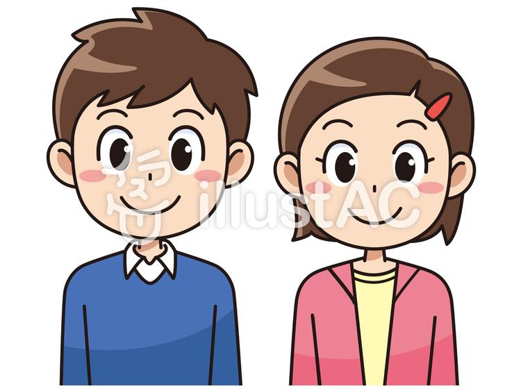 笑顔の小学生の男子と女子イラスト No 112112無料イラストなら