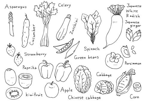 手寫的插圖03蔬菜和水果