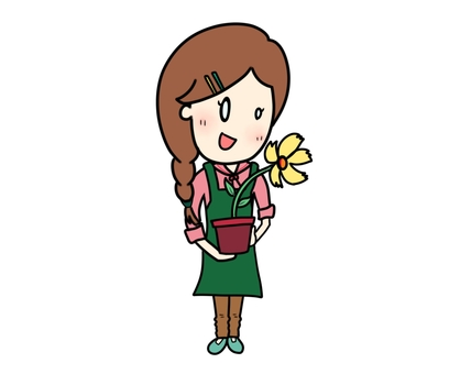 Sister with flower potted plant