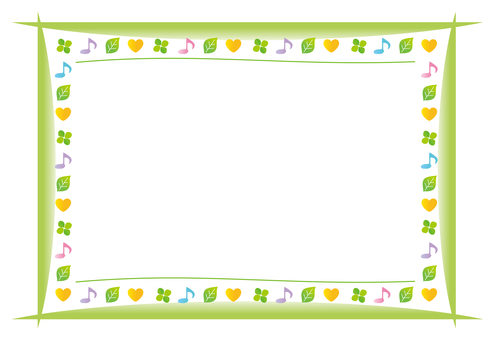 음표와 나뭇잎 프레임